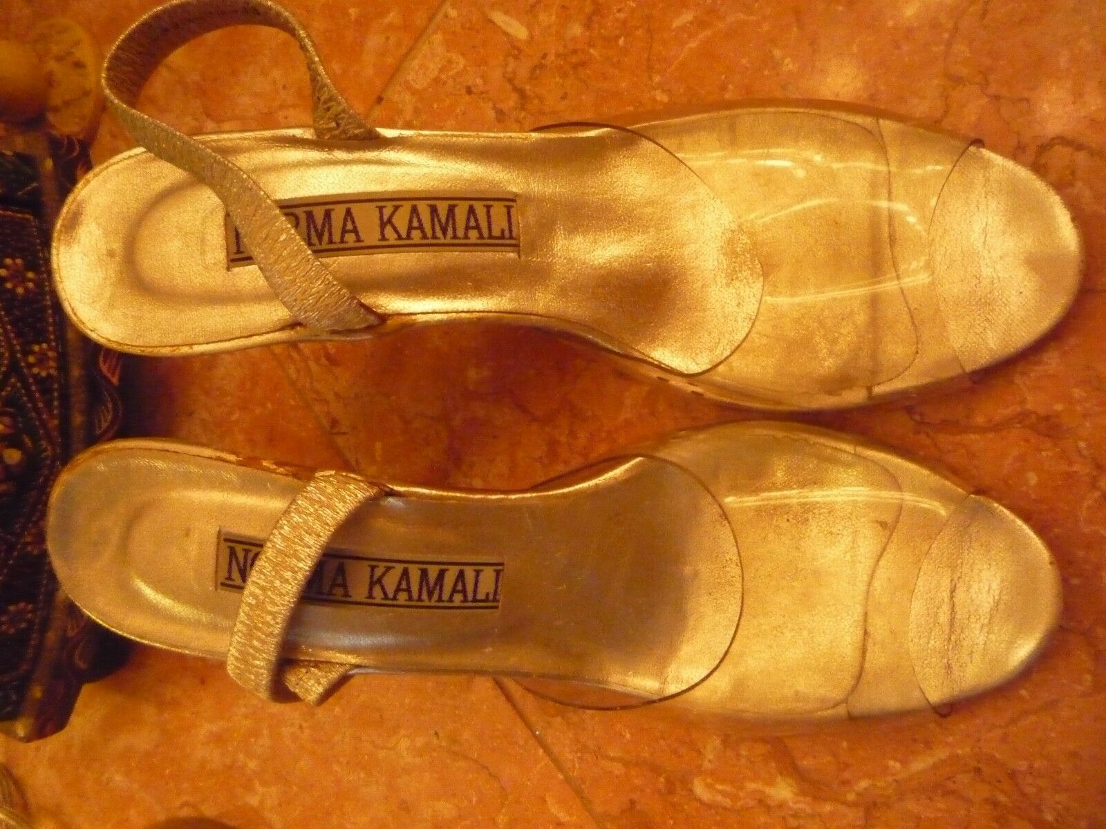 celebrity owned Norma Kamali vintage retro clear glass slipper heels shoes
