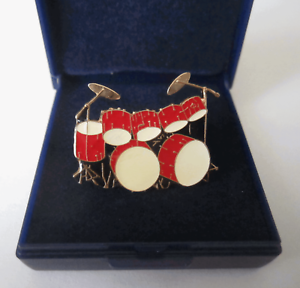 Double-Bass-Drum-Kit-Pin-Badge-Brooch-Red-Music-Present-Lapel-Drums-GIFT-BOXED
