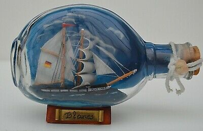 VINTAGE       MINIATURE SHIP IN SHAPED BOTTLE 'BLANES' - SOUND CONDITION!    eBay