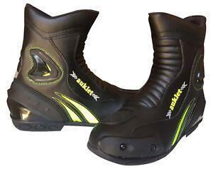 Scarpa-Stivale-Motociclismo-Calzatura-Sportiva-Moto-Pelle-Nero-Auklet-Taglia-45
