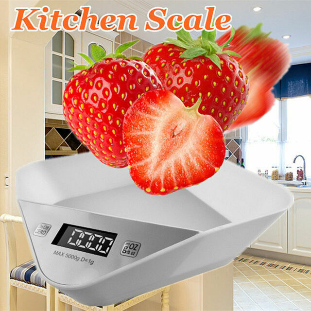 11LB Digital Kitchen Weight Scale White Portable LCD Electronic Diet Food Device