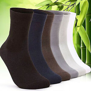 5-Pairs-Winter-Men-039-s-Cotton-Short-Bamboo-Fiber-Solid-Socks-Middle-Stockings-Deco