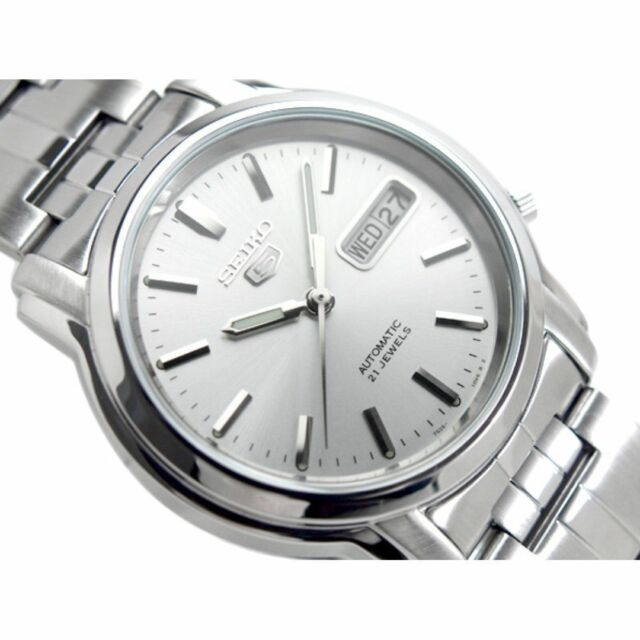 9eb48673c Seiko 5 Automatic Silver Dial Stainless Steel Men's Watch SNKK65 Watches  Product Description