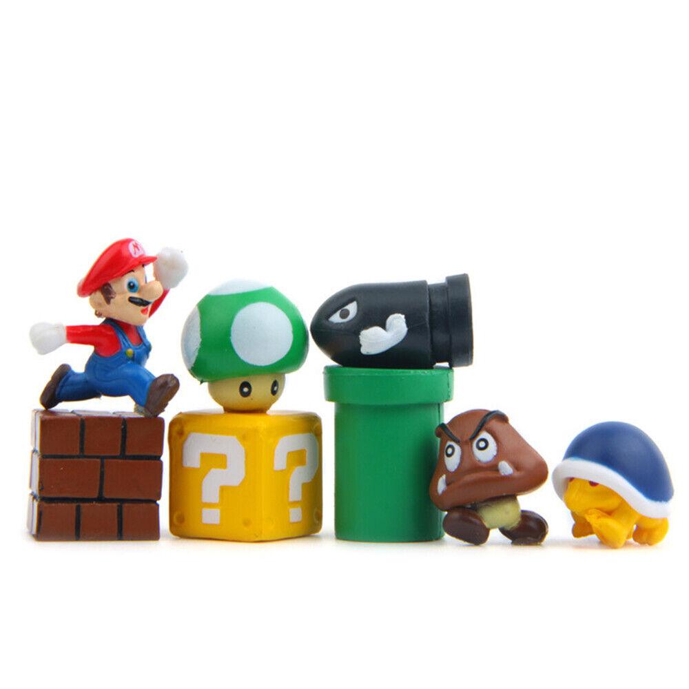 8pcs Set Super Mario Bros Yoshi Luigi Goomba Action Figure Playset