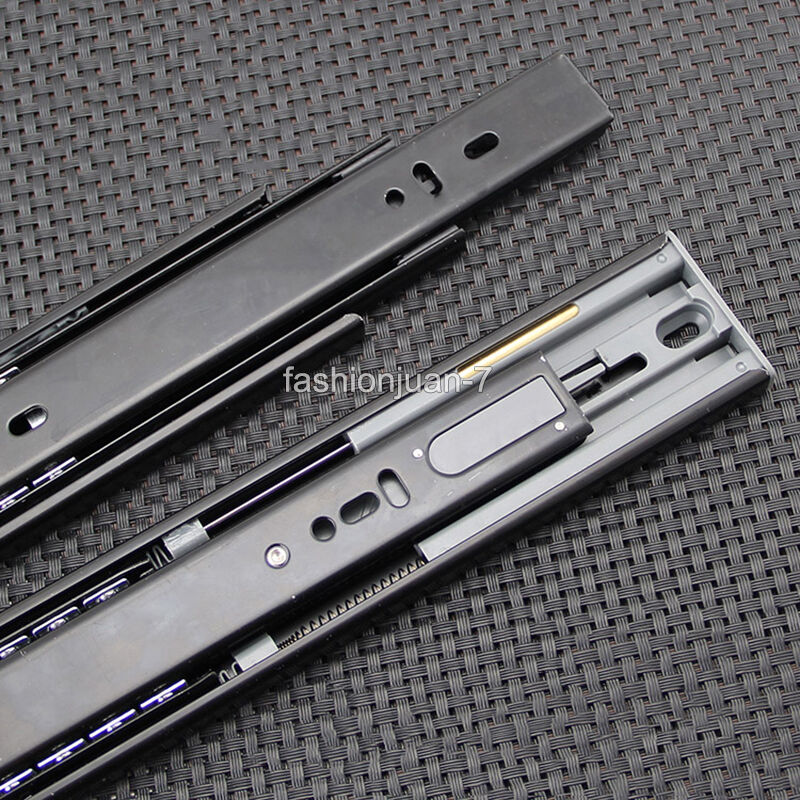 1Pair=2PCS 3 Fold Fully Telescopic 10 24  Buffer Mute Drawer Runner Slides Rail