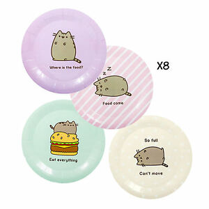 PACK-OF-8-PUSHEEN-PAPER-PLATES-BIRTHDAY-PARTY-CAT-KITTEN-PETS-DECORATION-TABLE
