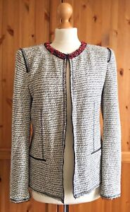 ZARA-WOMAN-Large-12-14-Chic-Boucle-Beaded-Blazer-Black-White-Smart-Business