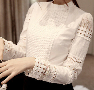 Spring Autumn Fashion Trendy Korean Style Women's Hollow Shirt Blouse Tops Q123
