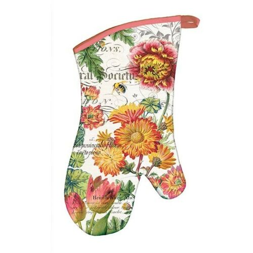 """Michel Design Works Oven Mitt /""""Blooms and Bees/"""" Floral Gold Green"""