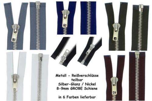 Reißverschluss MSG Metall Silber 8mm GROBE STARKE Metallreißverschlüsse teilbar