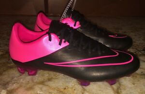 f8f797e6c95a NIKE Mercurial Vapor X Leather FG Black Pink Soccer Cleats Mens 6 7 ...