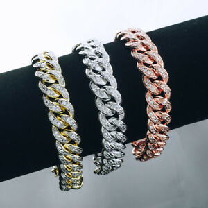 18k-Gold-Iced-Out-CUBAN-LINK-Miami-Chain-Lab-Diamond-Mens-Rose-Silver-BRACELET