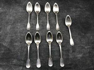 Lot-de-9-petites-cuilleres-en-metal-argente-cafe-the-moka-vintage