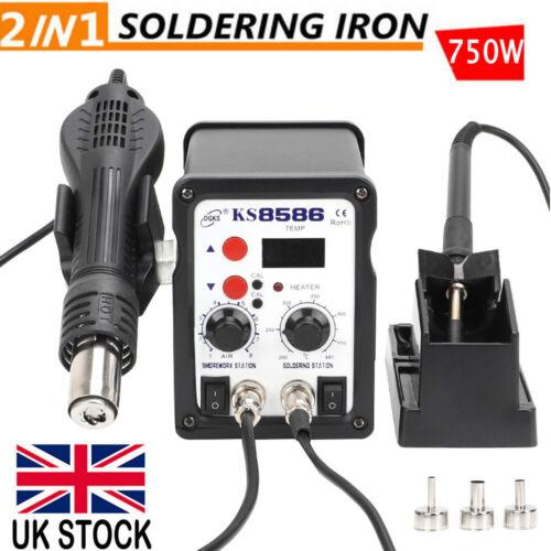 2in1 Soldering Iron SMD Rework Station Hot Air Gun Welder Digital Solder 750W UK