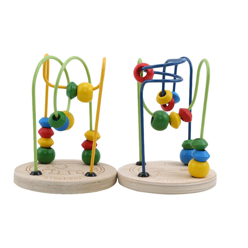 Wooden Beads Maze Game Educational Toys For Toddler Baby Roller Coaster Around6T 2