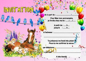 5 12 Ou 14 Cartes Invitation Anniversaire Cheval Chat Ref 451 Ebay