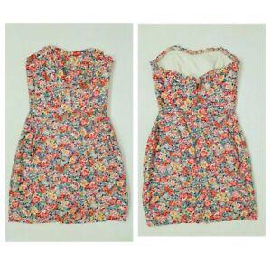 Jack-Wills-Rosa-Floral-Sin-breteles-Bardot-90s-Y2k-Equipado-Vestido-lapiz-corto-talla-8