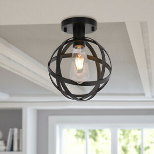 Metal-Cage-Ceiling-Light-Industry-Vintage-Home-Pedant-Lighting-US-Stock
