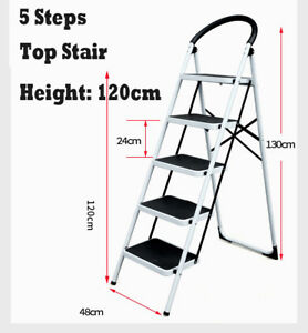 Magnificent Details About Household 5 Steps Ladder Folding Steel Step Ladder Soller Loads 130Kg Stool Squirreltailoven Fun Painted Chair Ideas Images Squirreltailovenorg