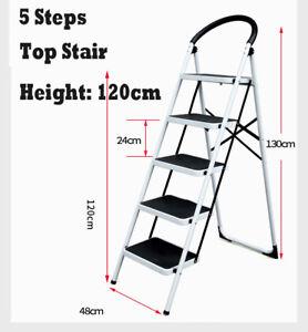 Groovy Details About Household 5 Steps Ladder Folding Steel Step Ladder Soller Loads 130Kg Stool Machost Co Dining Chair Design Ideas Machostcouk