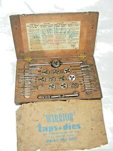 ANTIQUE-VINTAGE-WARRIOR-BRAND-TAP-amp-DIE-SET-IN-ORIGINAL-WOODEN-BOX-DECAL