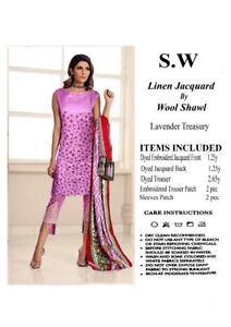 Création Couture Hiver Lin Lourd Emb Shalwar Kamiz Laine Châle Designer Costume-afficher Le Titre D'origine