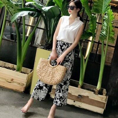 Women Wicker Handbag Bags Totes Beach Straw Woven Summer Rattan Basket Bag Retro by Ebay Seller