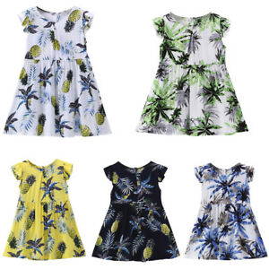 Toddler-Kids-Baby-Girls-Fruit-Pineapple-Print-Fly-Sleeve-Sundress-Dress-Clothes