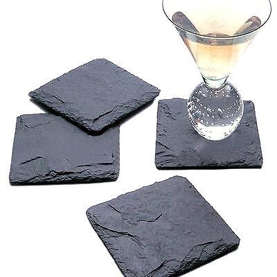 Black Square Slate Coffee Cup Heat Resistant Pad Slate Stone Mat 10*10cm