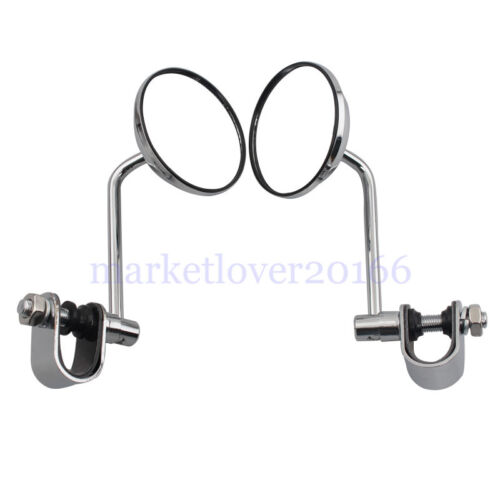 For Harley Cafe Racer Retro Rearview Round Mirrors 25mm Adapter Clamp Handle Bar