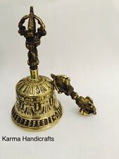 "Tibetan Buddhist Prayer Lama 6"" Brass Bell Dorje Vajra Set Om Handmade Nepal"