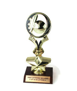 Baseball-Trophy-Ball-amp-Bat-Hitter-Star-Series-Free-Lettering