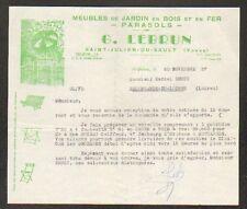 """SAINT-JULIEN-du-SAULT (89) MEUBLE de JARDIN Bois Fers PARASOLS """"G. LEBRUN"""" 1957"""