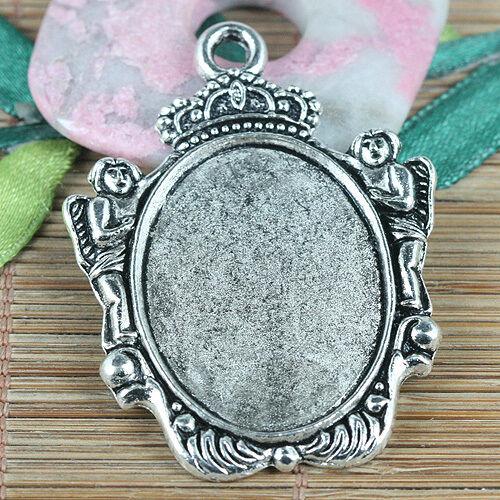 2pcs Tibetan Silver rim cabochon settings photo frame charms EF0321