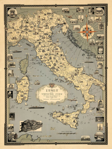 Early Pictorial Map Italy with Vatican City Historical Sites Wall Art Poster