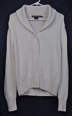 Polo Ralph Lauren Sport Womens Button Cardigan Sweater Preppy Cotton Cream XL