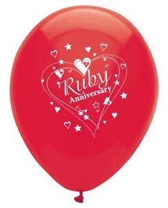 6-x-Ruby-Anniversary-12-034-Latex-Balloons-Helium-40-Year-40th-Wedding-Party-Decor