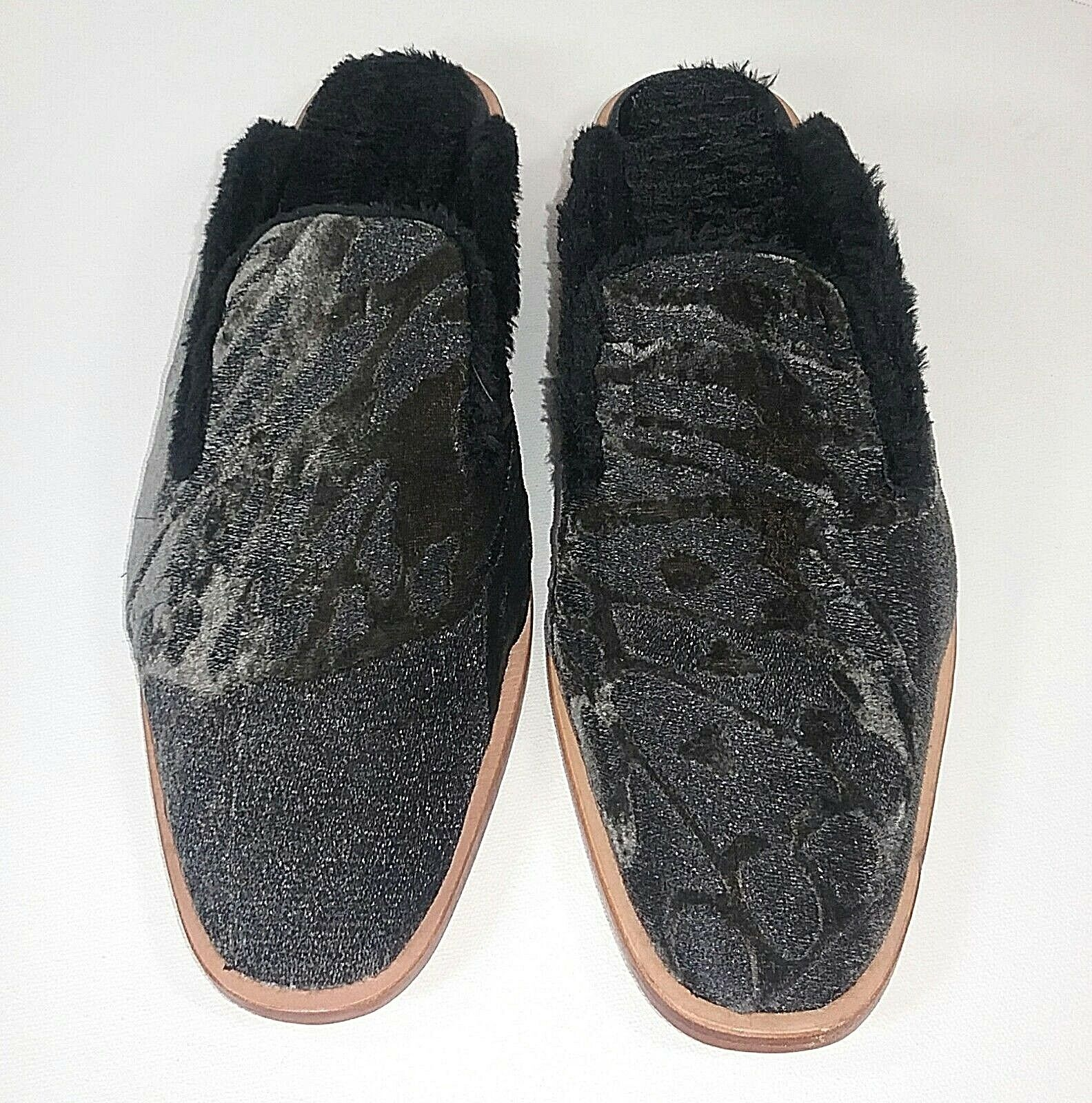 Free People Donna Euro 41 US 11 Dark Grey Butterfly Effect Faux Fur Lined Mules