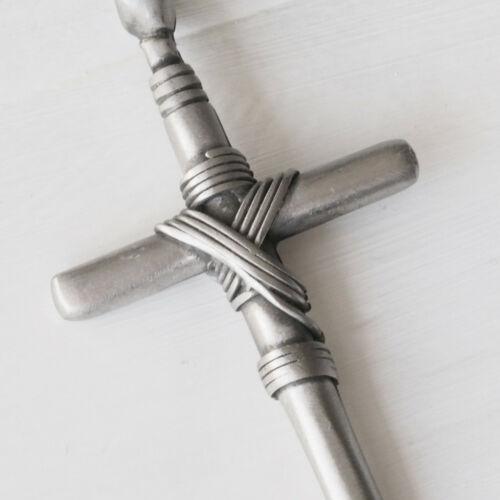 Nuevo 50cm-100cm cordel cadena con cruz de estaño collar cruz colgante cruz cadena