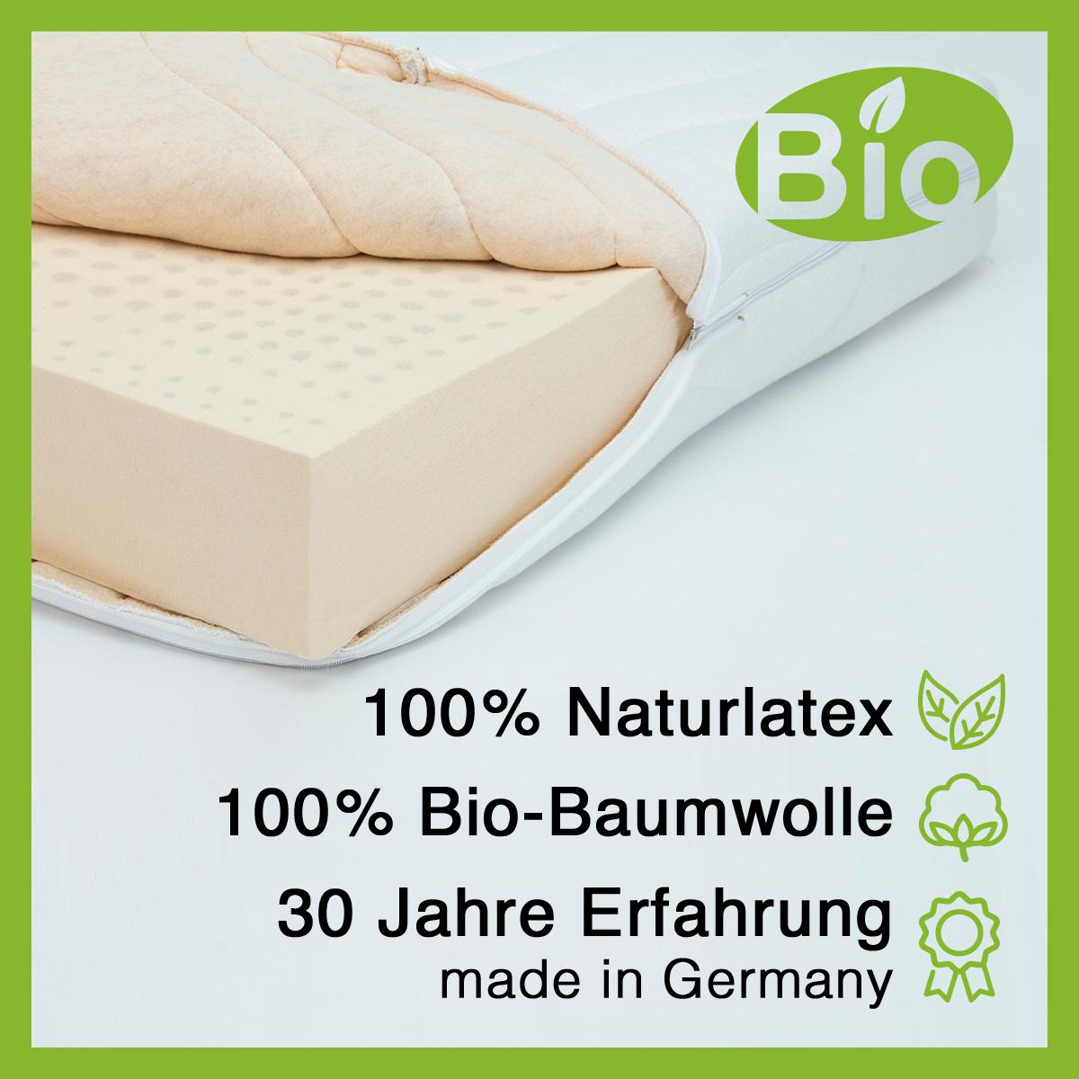 17 cm Latexmatratze Deluxe, 100% Naturlatexkern, Baumwollbezug, Naturmatratze