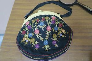 Vintage Embroidered Silk Purse Bakelite Clasp Hand Embroidery Bag