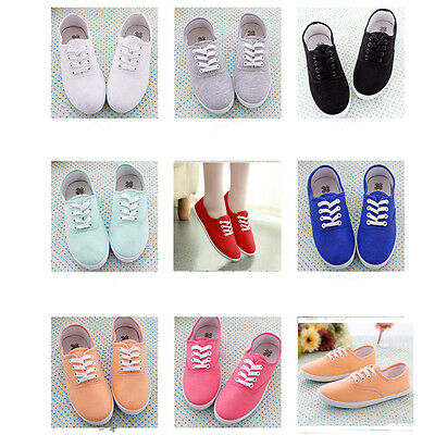 Women's Casual Lace Up Flat Canvas Tennis Soft Sneakers Deck Shoes Plimsolls