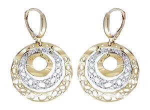 billig zu verkaufen neuer Stil von 2019 schnüren in Details zu Ohrhänger Gold 585 bicolor Ohrringe Ohrschmuck rund beweglich  Damen Brisur
