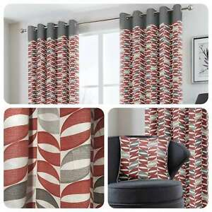 Fusion-COPELAND-Red-Geometric-100-Cotton-Eyelet-Curtains-amp-Cushions