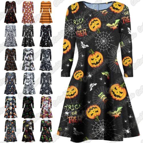 New Ladies Pumpkin Rose Candle Skull Web Halloween Flare Party Mini Swing Dress