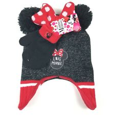 4f23ffe90d1 item 1 Disney Minnie Mouse Earflap Beanie Hat Gloves Set One Size Girls Red  Black -Disney Minnie Mouse Earflap Beanie Hat Gloves Set One Size Girls Red  ...