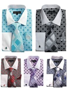 Men-039-s-Polka-Dots-French-Cuff-Dress-Shirt-w-Tie-Hanky-and-Cuff-Links-Set-632