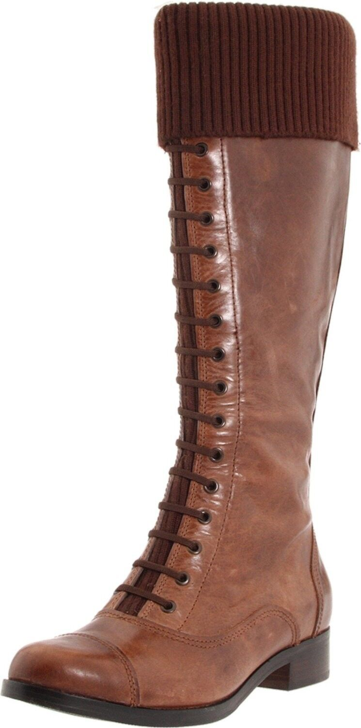 New Cole Haan Air Whitley Pelle Knit-Cuff Knee-High Tall Boot ~Amber/Brown 6.5