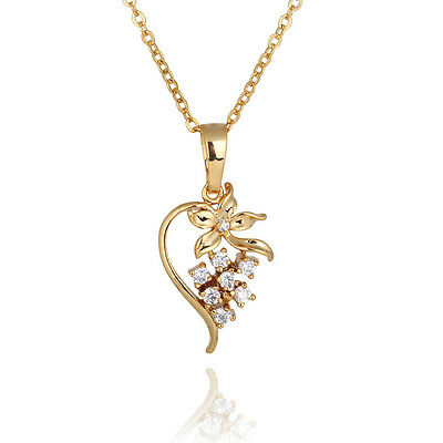 Luxury 18K Gold Plated Flower Jewelry Crystal Pendent Lady Womens Chain Necklace
