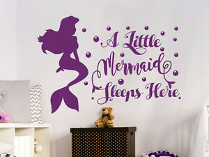 Details about Wall Decal Quote A Little Mermaid Sleeps Here Nursery Girl  Bedroom Decor NV163